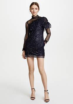 Glitter Mesh Asymmetric frill Dress