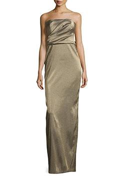 Strapless Metallic Evening Gown