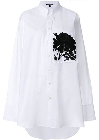 Peony Embroidered Oversized Shirt