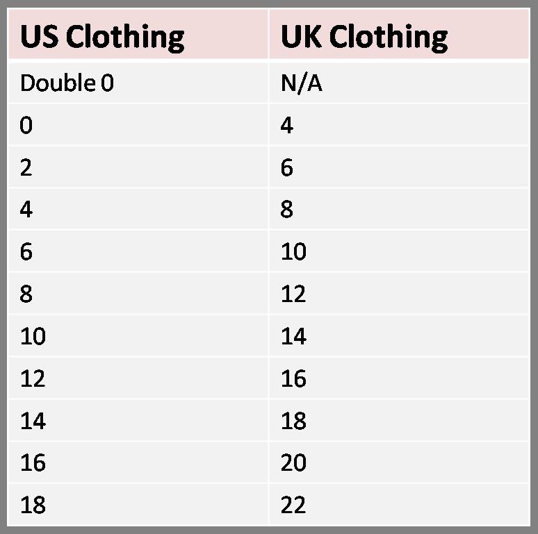 Us Uk Clothing And Shoe Size Conversion Charts
